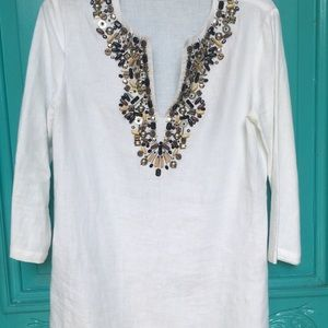 Michael Kors deep V bedazzled linen top!